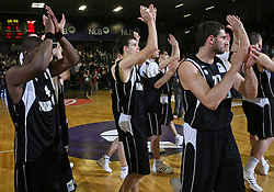 Partizan celebrates after second semi-final match of Basketball NLB League at Final four tournament between KK Partizan Igokea, Beograd, Serbia and Union Olimpija, Ljubljana, Slovenia, on April 25, 2008, in Arena Tivoli in Ljubljana. Match was won by Partizan 94:90. (Photo by Vid Ponikvar / Sportal Images)