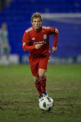 BIRKHENHEAD, ENGLAND - Monday, February 28, 2011: Liverpool's Steven Irwin in action against Blackburn Rovers during the FA Premiership Reserves League (Northern Division) match at Prenton Park. (Photo by David Rawcliffe/Propaganda)