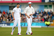 England & Lancashire bowler James Jimmy Anderson  and England & Nottinghamshire bowler Stuart Broad  during day 3 of the first Investec Test Series 2016 match between England and Sri Lanka at Headingly Stadium, Leeds, United Kingdom on 21 May 2016. Photo by Simon Davies.