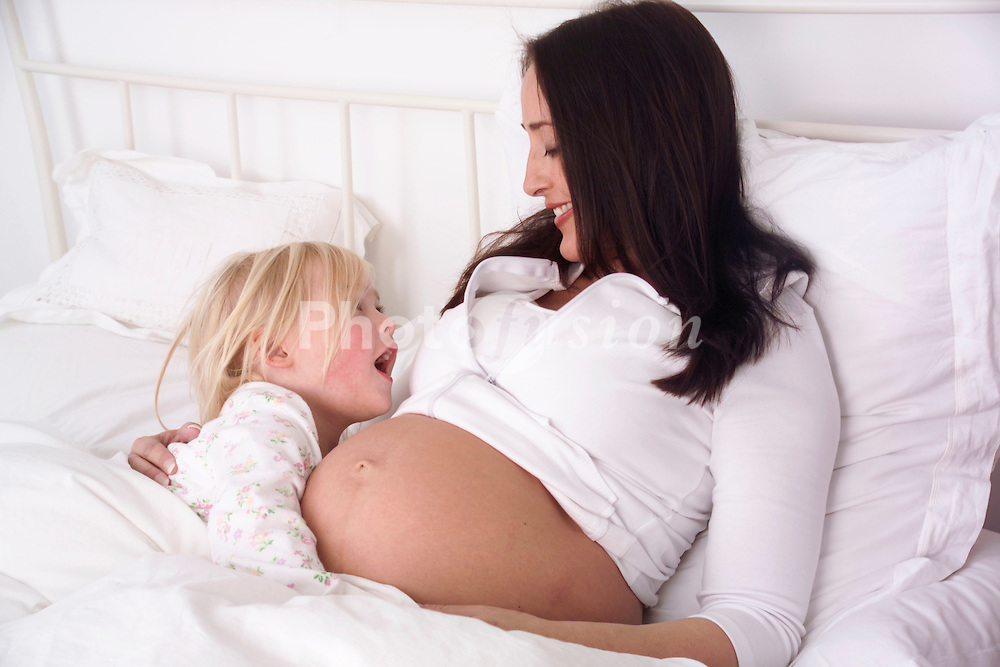 Pregnant woman & daughter UK