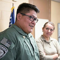Sergeant Steven Collins, a team leader within the Emergency Response Team is recognized during a ceremony for completion of the Gallup Police Emergency Response Training swat course, Tuesday Oct. 30 at the Gallup Police Department.