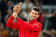Novak Djokovic with the trophy during the final of the Madrid Open at Manzanares Park Tennis Centre, Madrid<br /> Picture by EXPA Pictures/Focus Images Ltd 07814482222<br /> 08/05/2016<br /> ***UK &amp; IRELAND ONLY***<br /> EXPA-ESP-160509-0101.jpg