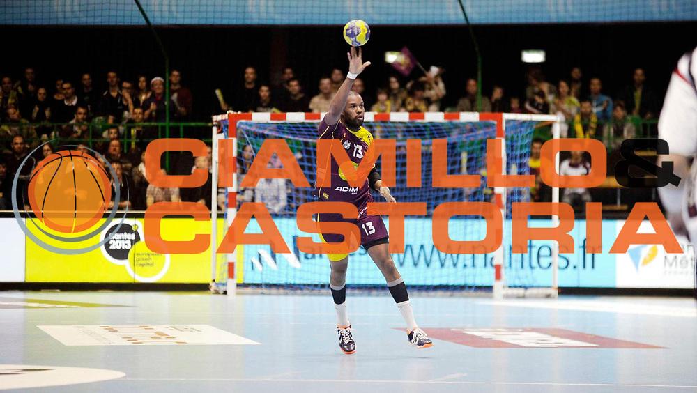 DESCRIZIONE : HandbaLL Cup Finale EHF Homme<br /> GIOCATORE : FELIHO Rock<br /> SQUADRA : Nantes <br /> EVENTO : Coupe EHF Demi Finale<br /> GARA : NANTES HOLSTEBRO<br /> DATA : 18 05 2013<br /> CATEGORIA : Handball Homme<br /> SPORT : Handball<br /> AUTORE : JF Molliere <br /> Galleria : France Hand 2012-2013 Action<br /> Fotonotizia : HandbaLL Cup Finale EHF Homme<br /> Predefinita :