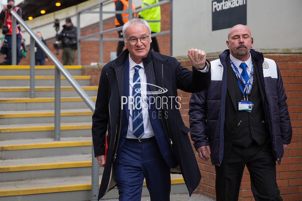 Leicester City Manager Claudio Ranieri  arrives at the ground before the Barclays Premier League match between Crystal Palace and Leicester City at Selhurst Park, London, England on 19 March 2016. Photo by Phil Duncan.