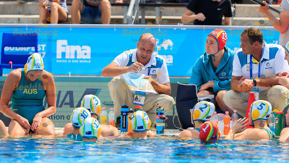 20-07-2017: Waterpolo: Australie  v Greece: Boedapest<br /> <br /> Athansios Kechagias coach  of Australia during the waterpolomatch between women Australia and Greece during the 17th FINA World Championships 2017 in Budapest, Hungary<br /> <br /> Photo / Foto: Gertjan Kooij