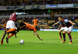 Matt Doherty of Wolverhampton Wanderers is brought down in the box by Albert Adomah of Aston Villa but no penalty - Mandatory by-line: Paul Roberts/JMP - 14/10/2017 - FOOTBALL - Molineux - Wolverhampton, England - Wolverhampton Wanderers v Aston Villa - Skybet Championship