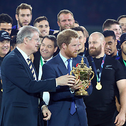 LONDON, ENGLAND - OCTOBER 31: Prince Harry during the Rugby World Cup Final match between New Zealand vs Australia Final, Twickenham, London on October 31, 2015 in London, England. (Photo by Steve Haag)