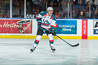 KELOWNA, CANADA - MARCH 3:  James Hilsendager #2 of the Kelowna Rockets stands on the ice against the Spokane Chiefs on March 3, 2018 at Prospera Place in Kelowna, British Columbia, Canada.  (Photo by Marissa Baecker/Shoot the Breeze)  *** Local Caption ***