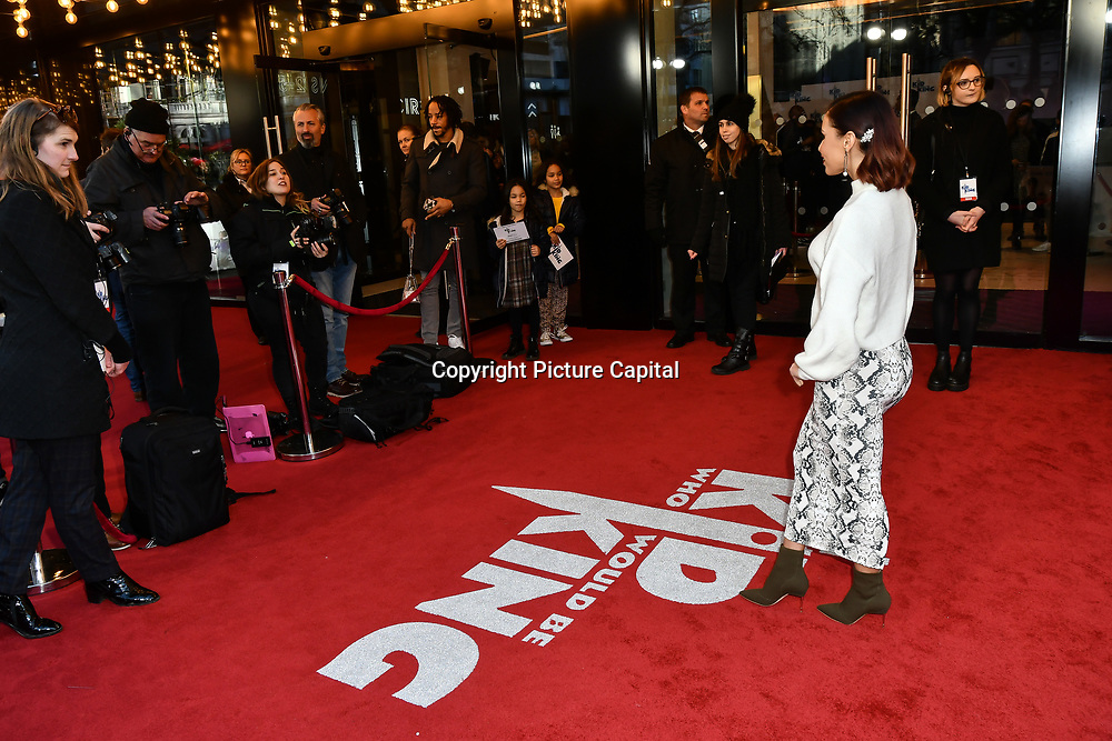 Shanie Ryan looks at her bottom Arrives at The Kid Who Would Be King on 3 February 2019 at ODEON Luxe Leicester Square, London, UK.