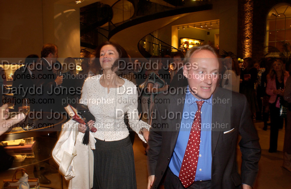 Lady Barbara Black and Andrew Roberts. Book party for LAST VOYAGE OF THE VALENTINA by Santa Montefiore (Hodder & Stoughton) Asprey,  New Bond St. 12 April 2005. ONE TIME USE ONLY - DO NOT ARCHIVE  © Copyright Photograph by Dafydd Jones 66 Stockwell Park Rd. London SW9 0DA Tel 020 7733 0108 www.dafjones.com