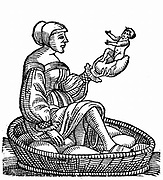 Woman hatching a baby from an egg she has incubated. Incident reported by the Ancient Greek  historian Herodotus (c485-425 BC).  Woodcut from Conrad Lycosthenes 'Prodigiorum ac ostentorum chronicon', Basel, 1557.