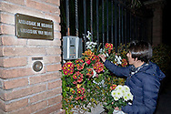Flowers in front of the Embassy of Belgium, after the attacks in Brussels, in a sign of solidarity of the Left Ecology and Freedom party. Rome, Italy. 22th March 2016