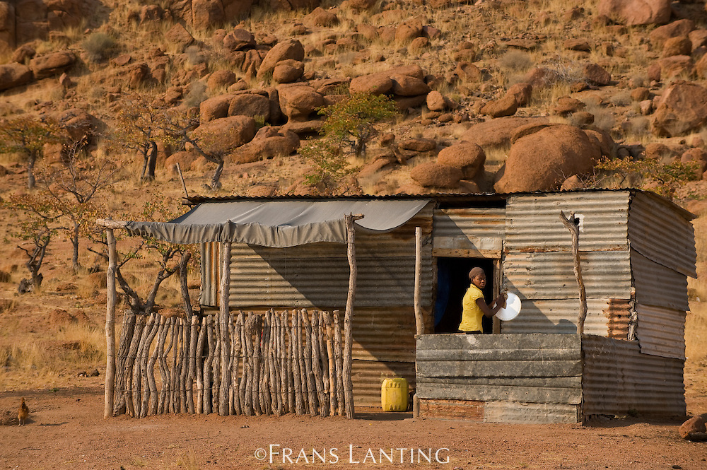 Home made from corrugated iron, Uibasen Conservancy, Damaraland, Namibia