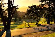 Sunrise light over golf course at Lincoln Park, San Francisco, California