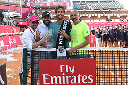 May 6, 2018 - Estoril, Portugal - Joao Sousa of Portugal and his team pose with the trophy after winning the Millennium Estoril Open ATP 250 tennis tournament final against Frances Tiafoe of US, at the Clube de Tenis do Estoril in Estoril, Portugal on May 6, 2018. (Joao Sousa won 2-0) (Credit Image: © Pedro Fiuza/NurPhoto via ZUMA Press)