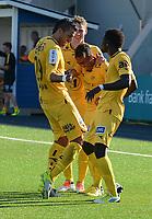 """Fotball Adeccoligaen Ranheim - Bodø/Glimt<br /> DnB Nor Arena, Trondheim 30 juni 2013<br /> <br /> <br /> Papa Alioune Ndiaye (H) har scoret 1-0 for Bodø/Glimt. Her jubler han sammen med Ulrik Reinaldo Berglann (midten) og Abdurahim Laajab, også kalt """"Ibba"""" (V). Bak : Ruben Imingen<br /> <br /> <br /> Foto : Arve Johnsen, Digitalsport"""