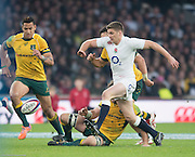 Twickenham, Great Britain, Owen FARRELL kicking the ball forward during the QBE Autumn International, England vs Australia, played at the RFU Stadium, Twickenham, ENGLAND. 16:07:25   Saturday  29/11/2014  [Mandatory Credit; Peter Spurrier/Intersport-images]