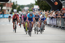 Marta Cavalli (ITA) wins the sprint for minor placings during Postnord UCI WWT Vårgårda WestSweden Road Race, a 145.3 km road race in Vårgårda, Sweden on August 18, 2019. Photo by Sean Robinson/velofocus.com