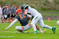 KELOWNA, BC - SEPTEMBER 22:  Conor Richard #10 of Okanagan Sun is tackled by Lukas Kornelson #54 of Valley Huskers as he tries to tackle him at the Apple Bowl on September 22, 2019 in Kelowna, Canada. (Photo by Marissa Baecker/Shoot the Breeze)