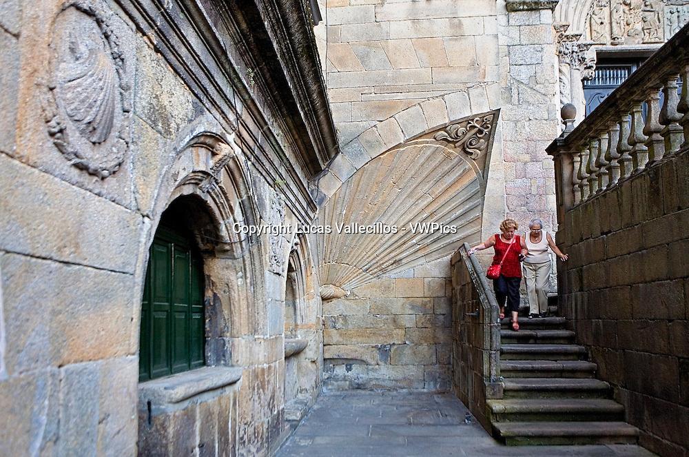 Corner of Praza das Praterías. Shells.Santiago de Compostela. Coruña province.Spain. Camino de Santiago.