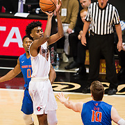 27 February 2018: San Diego State men's basketball hosts Boise State in it's last meet up of the regular season at Viejas Arena. San Diego State Aztecs forward Jalen McDaniels (5) takes a jump shot at the top of the key over Boise State Broncos center Robin Jorch (10). The Aztecs lead 38-37 at halftime. <br /> More game action at sdsuaztecphotos.com