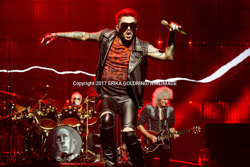 AUBURN HILLS, MI - JULY 20:  (L-R) Roger Taylor, Adam Lambert and Brian May of Queen + Adam Lambert perform at The Palace of Auburn Hills on July 20, 2017 in Auburn Hills, Michigan.  (Photo by Erika Goldring/WireImage) *** Local Caption *** Roger Taylor;Adam Lambert;Brian May