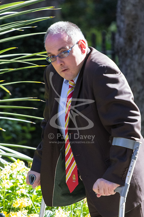 Downing Street, London, May 3rd 2016. Deputy Chairman of the Conservative Party Robert Halfon arrives at 10 Downing Street for the weekly cabinet meeting. ©Paul Davey<br /> FOR LICENCING CONTACT: Paul Davey +44 (0) 7966 016 296 paul@pauldaveycreative.co.uk