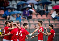 Players of Crvena Zvezda celebrate during Friendly football match between NK Krka and FK Crvena Zvezda on June 26, 2013 in Stadium Portoval, Novo mesto, Slovenia. (Photo by Vid Ponikvar / Sportida.com)