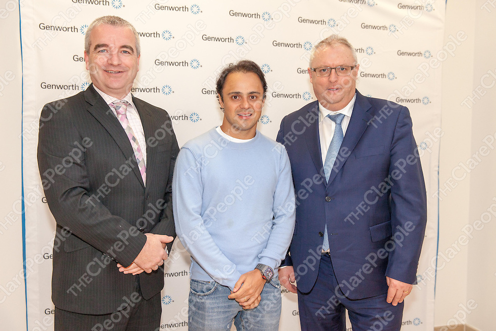 Chief Executive Bob Brannock & Chief Operating Officer Andrew Flaherty welcoming Formula One Driver Felipe Massa to Genworth, Shannon