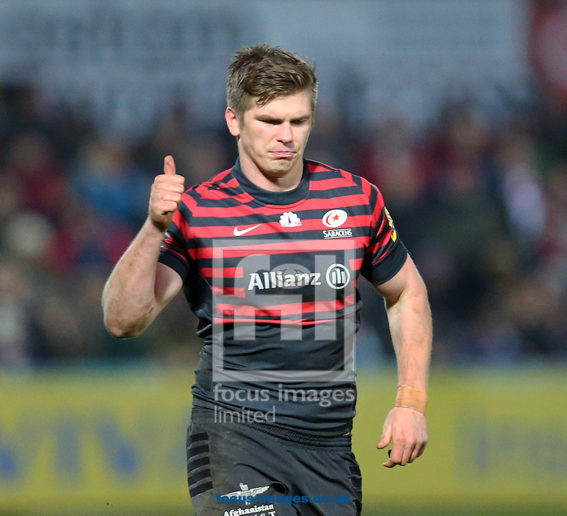 Picture by Michael Whitefoot/Focus Images Ltd 07969 898192<br /> 04/01/2014<br /> Owen Farrell of Saracens gives the thumbs up during the Aviva Premiership match at Kingsholm Stadium , Gloucester.