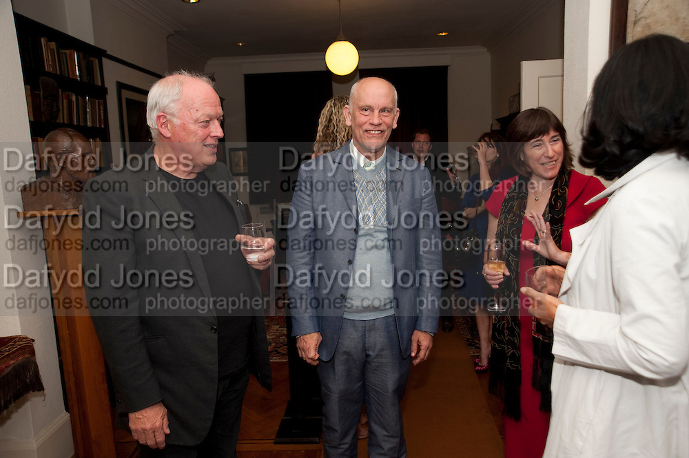 David Gilmour; John Malkovich, Freud Museum dinner, Maresfield Gardens. 16 June 2011. <br /> <br />  , -DO NOT ARCHIVE-© Copyright Photograph by Dafydd Jones. 248 Clapham Rd. London SW9 0PZ. Tel 0207 820 0771. www.dafjones.com.