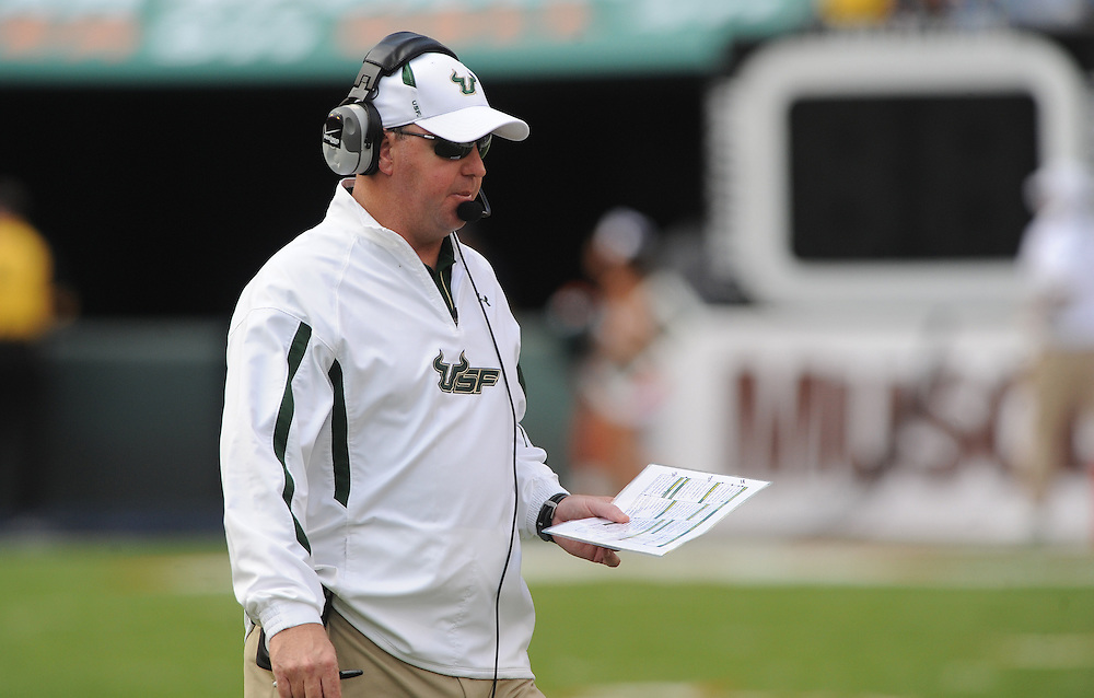 MIAMI GARDENS, FL - NOVEMBER 27: Head coach Skip Holtz in action during the game against the Miami Hurricanes at Sun Life Stadium in Miami Gardens, Florida on November 27, 2010. South Florida defeated the Hurricanes 23-20.