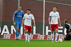 05.11.2011,  BayArena, Leverkusen, GER, 1.FBL, Bayer 04 Leverkusen vs Hamburger SV, im Bild.von links:  Jaroslav Droby (Torwart Hamburg), Tomas Rincon (Hamburg #8) und Heiko Westermann (Hamburg #4) entaeuscht / entäuscht / traurig nach dem 2:0..// during the 1.FBL, Bayer Leverkusen vs Hamburger SV on 2011/11/05, BayArena, Leverkusen, Germany. EXPA Pictures © 2011, PhotoCredit: EXPA/ nph/  Mueller       ****** out of GER / CRO  / BEL ******