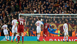 LIVERPOOL, ENGLAND - Tuesday, April 24, 2018: AS Roma's goalkeeper Alisson Becker is beaten as Liverpool's Mohamed Salah scores the first goal during the UEFA Champions League Semi-Final 1st Leg match between Liverpool FC and AS Roma at Anfield. (Pic by David Rawcliffe/Propaganda)