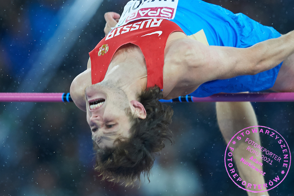 Ivan Ukhov from Russia competes in men's high jump final during the Fourth Day of the European Athletics Championships Zurich 2014 at Letzigrund Stadium in Zurich, Switzerland.<br /> <br /> Switzerland, Zurich, August 15, 2014<br /> <br /> Picture also available in RAW (NEF) or TIFF format on special request.<br /> <br /> For editorial use only. Any commercial or promotional use requires permission.<br /> <br /> Photo by &copy; Adam Nurkiewicz / Mediasport