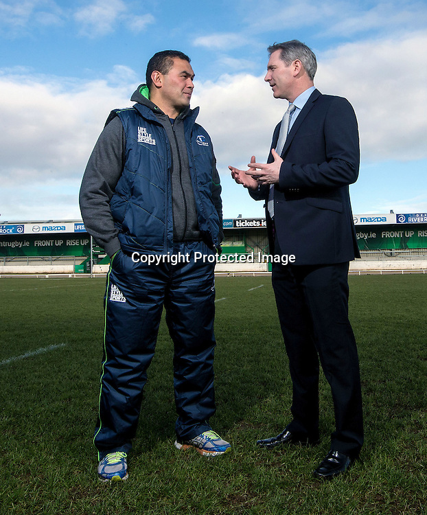 Connacht Rugby Pat Lam New Contract Announcement, The Sportsground, Galway 21/5/2015<br /> Connacht head coach Pat Lam and CEO Willie Ruane<br /> Mandatory Credit &copy;INPHO/James Crombie