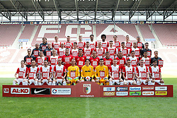 16.07.2014, SGL Arena, Augsburg, GER, 1. FBL, Mannschaftsfototermin FC Augsburg, im Bild (vordere Reihe sitzend L-R) Raphael Framberger, Tim Rieder, Sascha Moelders, Dominik Reinhardt, Alexander Manninger, Marwin Hitz, Ioannis Gelios, Mathias Fetsch, Tim Matavz, Jan-Ingwer Callsen-Bracker and Jan Morawek, (2 Reihe von vorne L-R) Doktor Florian Elser, Nikola Djurdjic, Ragnar Klavan, Rehe-Trainer Thomas Barth, Torwarttrainer Zdenko Miletic, Co-Trainer Tobias Zellner, Co-Trainer Wolfgang Beller, Chef-Trainer Markus Weinzierl, Raul Bobadilla, Shawn Parker and physio James Morgan, (3Reihe von vorne L-R) Zeugwart Zdenek Vidrman, Doktor Peter Stiller, Tobias Werner, Erik Thommy, Daniel Baier, Matthias Ostrzolek, Marco Schuster, Arif Ekin, Maercel de Jong and physio Oliver Roensch, (4 Reihe von vorne L-R) Doktor Andreas Weigel, Maik Uhde, Philip Ronny, Alexander Esswein, Halil Altintop, Caiuby Francisco da Silva, Markus Feulner, Dominik Kohr and physio Richard Wagner // during a Photo Shoot of German 1st Bundesliga FC Augsburg at the SGL Arena in Augsburg, Germany on 2014/07/16. EXPA Pictures © 2014, PhotoCredit: EXPA/ Eibner-Pressefoto/ Kolbert<br /> <br /> *****ATTENTION - OUT of GER*****