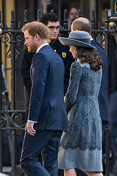 © Licensed to London News Pictures. 14/03/2016. London, UK. PRINCE HARRY, CATHERINE, Duchess of Cambridge and PRINCE WILLIAM arrive at Westminster Abbey in London to attend a service to mark Commonwealth Day 2016.  Photo credit: Ben Cawthra/LNP