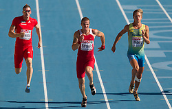 Roland Schwarzl of Austria, Igor Sarcevic of Serbia and Nicklas Wiberg of Sweden compete in heat 1 during the men's decathlon 100m at the 2010 European Athletics Championships at the Olympic Stadium in Barcelona on July 28, 2010. (Photo by Vid Ponikvar / Sportida)