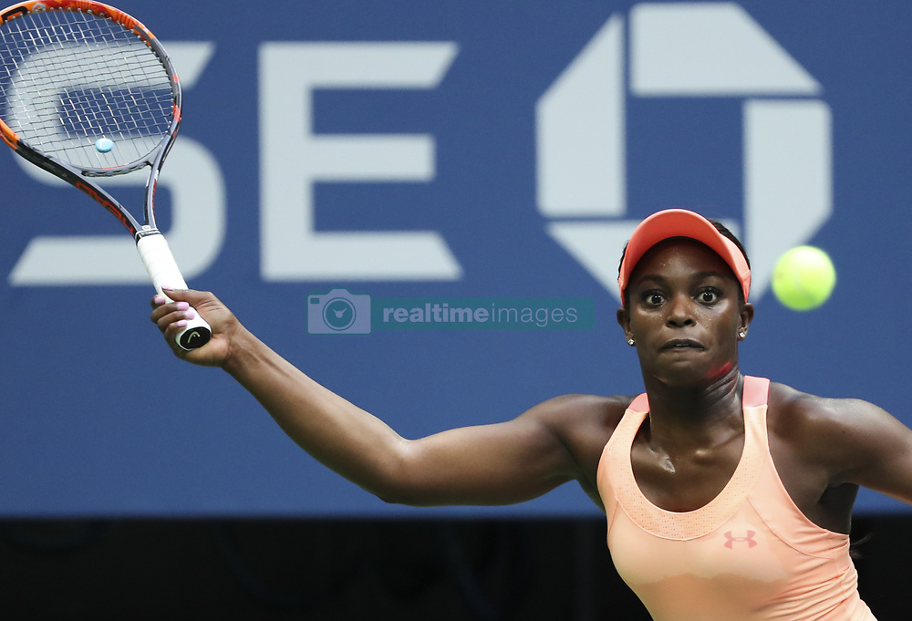 NEW YORK, Sept. 10, 2017  Sloane Stephens of the United States hits a return during the women's singles final match against Madison Keys of the United States at the 2017 US Open in New York, the United States, Sept. 9, 2017. Sloane Stephens won 2-0 to claim the title. (Credit Image: © Wang Ying/Xinhua via ZUMA Wire)