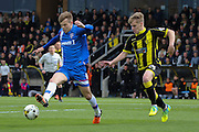 Gillingham midfielder Jake Hessenthaler is first to the ball during the Sky Bet League 1 match between Burton Albion and Gillingham at the Pirelli Stadium, Burton upon Trent, England on 30 April 2016. Photo by Aaron  Lupton.