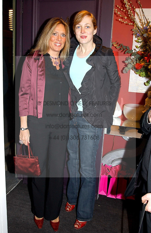Left to right, SARA CARELLO and RITA KONIG at a party hosted American House and Garden magazine with Tomasz Starzewski and Nina Campbell to celebrate the British Issue of the magazine, held at 14 Stanhope Mews West, London SW7 on 13th March 2005.<br />