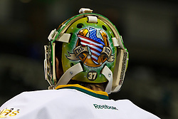 Dec 8, 2011; San Jose, CA, USA; Detailed view of the back of a helmet belonging to Dallas Stars goalie Richard Bachman (31) before the game against the San Jose Sharks at HP Pavilion.  Mandatory Credit: Jason O. Watson-US PRESSWIRE