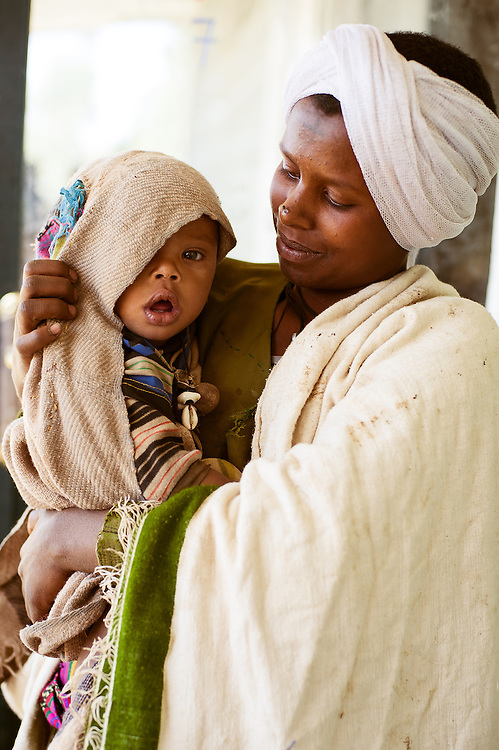 A woman waits with her child at a remote clinic near Debre Tabor, Ethiopia.
