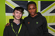 Forest Green Rovers Shawn McCoulsky(21) with his kit sponsor during the EFL Sky Bet League 2 match between Forest Green Rovers and Carlisle United at the New Lawn, Forest Green, United Kingdom on 28 January 2020.