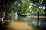 France. Paris flooding. 4th district. Seine river quay of the hotel de Ville.