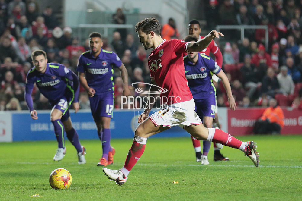 Bristol City midfielder Marlon Pack hits the crossbar with his penalty during the Sky Bet Championship match between Bristol City and Charlton Athletic at Ashton Gate, Bristol, England on 26 December 2015. Photo by Jemma Phillips.