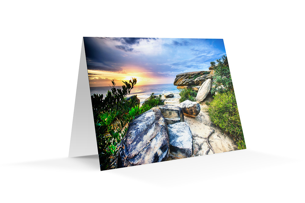 """Photo Art Greeting Card - Sydney Coastal Collection (Coogee Clifftops). Printed in Sydney on quality matte card stock, 174 x 123mm, blank inside, envelope included, packaged in sealed poly bag. Click """"Add to Cart"""" to choose your own mix of 5, 10, or 20 cards from this collection."""