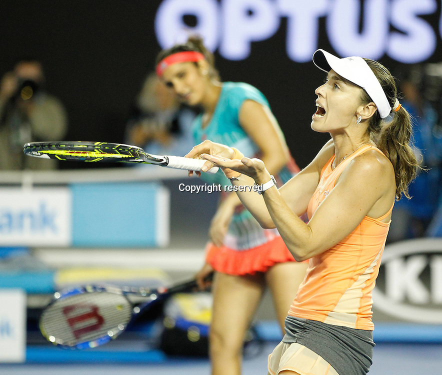 29.01.2016. Melbourne Park, Melbourne, Australia. Austalian Open Tennis Championship. Mens Semi Final Day. Marina Hingis and Sania Mirza on their way to winning the ladies doubles against Czechs Andrea Hlavackova  and Lucie Hradecka