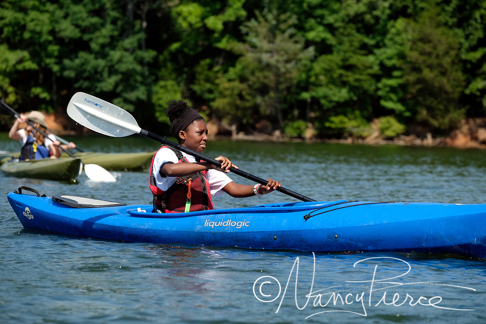 McDowell Nature Preserve Adventure Camp.   11-year olds kayaking at Copperhead Island.